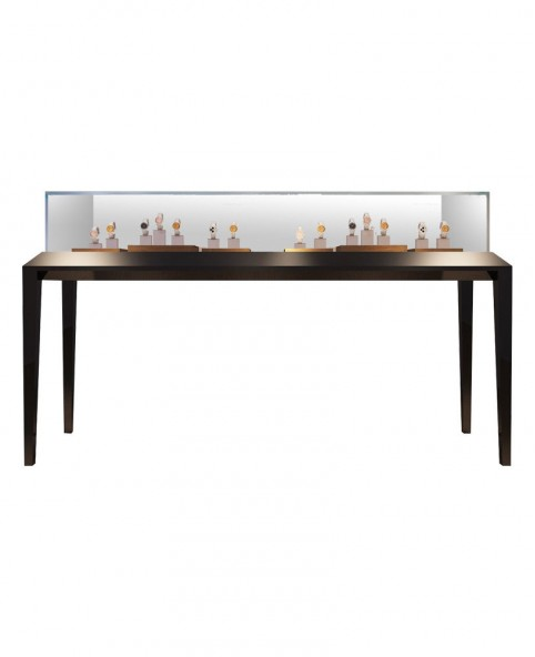 Sit Down Black Glass Top  Jewelry Display Case