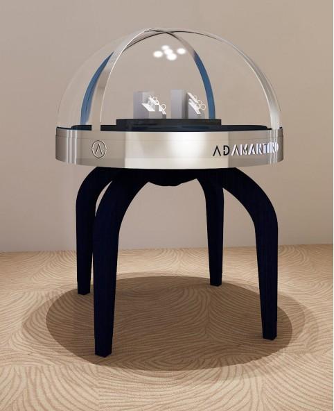 High End Round  Jewelry Display Showcase Design
