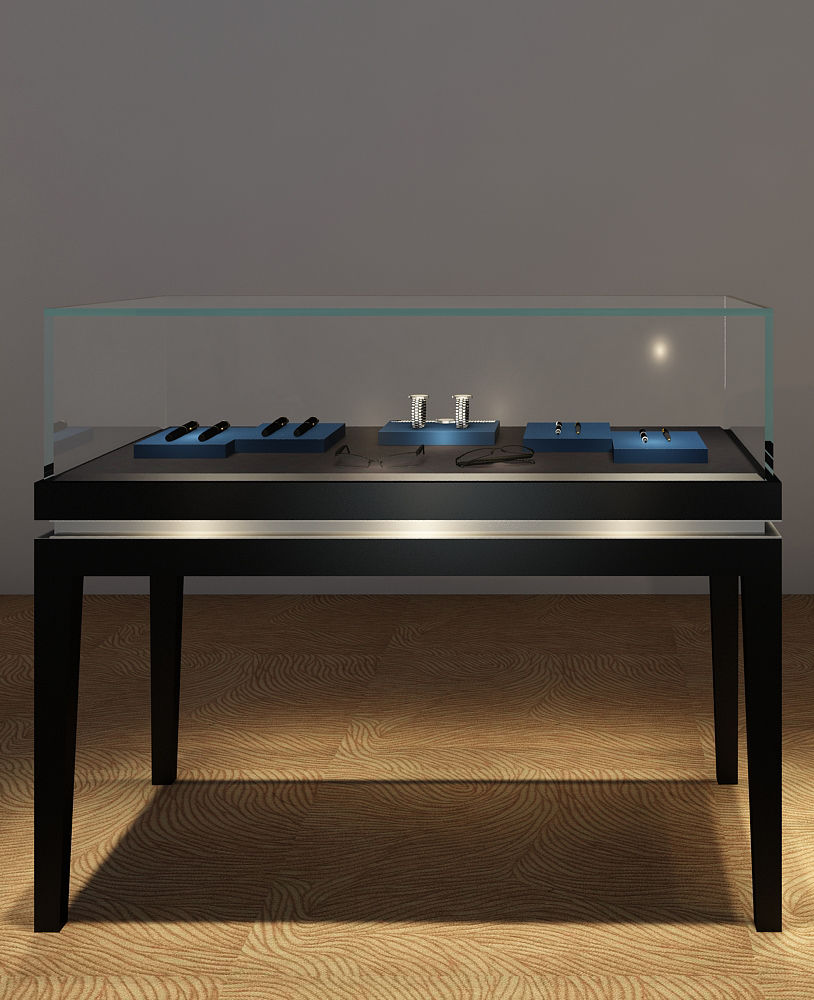 Black Glossy Glass Top Jewelry Showcase Cabinets For