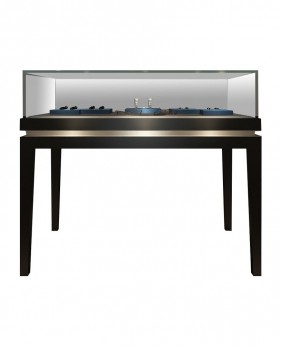 Black Glossy Glass Top Jewelry Showcase Cabinets For Stores