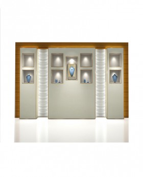 High End jewelry Wall Display Case With Shelves