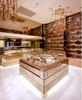 High End Luxury Gold Diamond Showcase