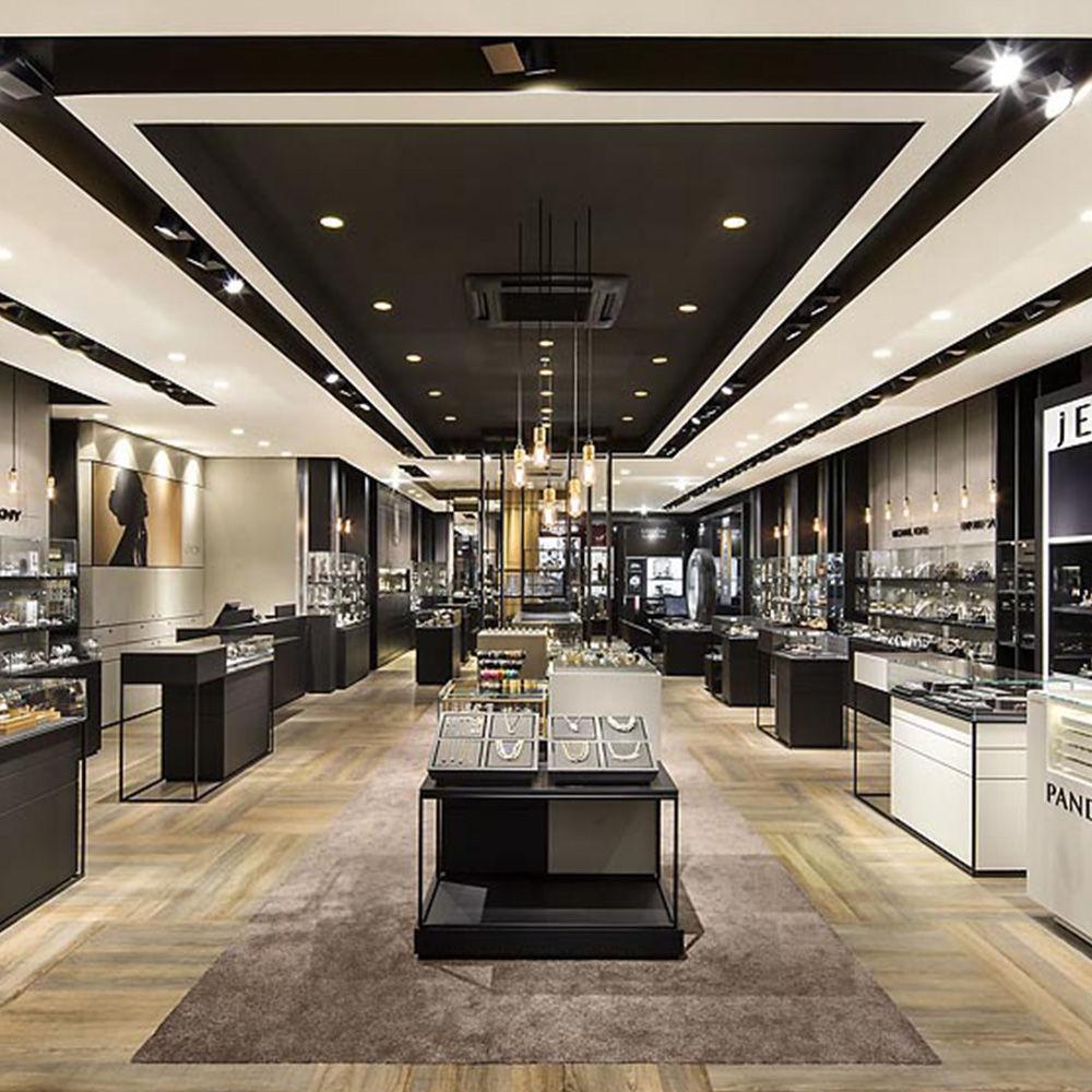 Jewelry store display stands · luxury jewelry shop interior design